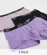 ASOS Dark Future - 3er-Pack kurze Unterhosen mit Logo-Taillenbund, du sparst-Mehrfarbig