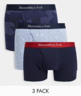 Abercrombie & Fitch - 3er-Pack Unterhosen mit Logobund in Marineblau/Military-Muster/Schwarz/Blau-Logodruck-Mehrfarbig