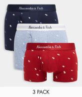 Abercrombie & Fitch - 3er-Set Unterhosen mit Logo-Bund in Rot/Blau/Schwarz-Mehrfarbig