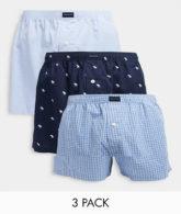 Abercrombie & Fitch - Gewebte Boxershorts mit Markenlogo in einfarbigem Blau/kariertem Blau/Marineblau mit All-over-Logo im 3er-Pack-Mehrfarbig