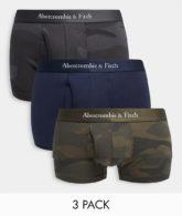 Abercrombie & Fitch - Unterhosen mit Logobund im 3er-Pack in Schwarz und Schwarz/Olivgrün-Military-Muster-Mehrfarbig