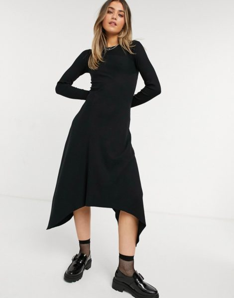 AllSaints - Gia - Langärmliges Kleid mit Wellensaum in Schwarz-Grün