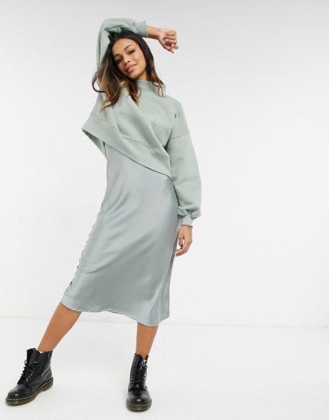 AllSaints - Nevarra - 2-in-1 Kleid mit Sweatshirt in Grau-Rosa