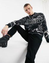 AllSaints - Pullover in Schwarz mit Marmormuster