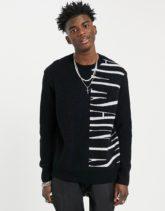 AllSaints - Vex - Pullover in Schwarz mit Logoprint