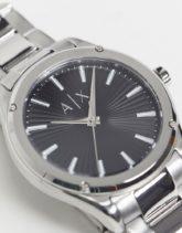 Armani Exchange - Fitz - Silberfarbene Armbanduhr mit schwarzem Zifferblatt, AX2800
