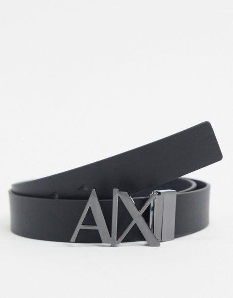 Armani Exchange - Wendbarer Ledergürtel in Schwarz/Grau mit Logo-Schnalle