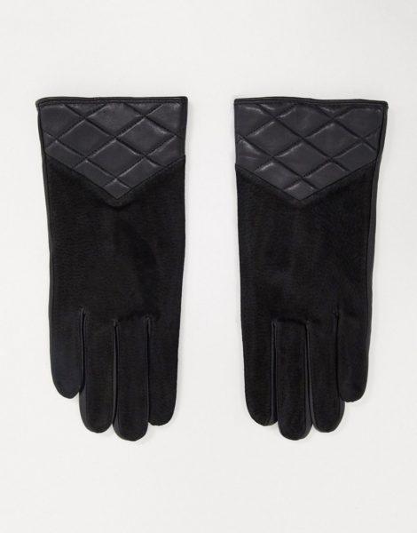 Barney's Originals - Gesteppte Handschuhe aus echtem Wildleder in Schwarz