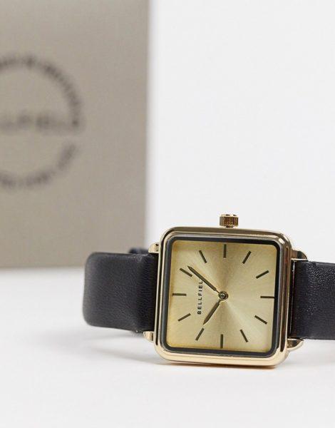 Bellfield - Uhr mit quadratischem Zifferblatt und schwarzem Armband