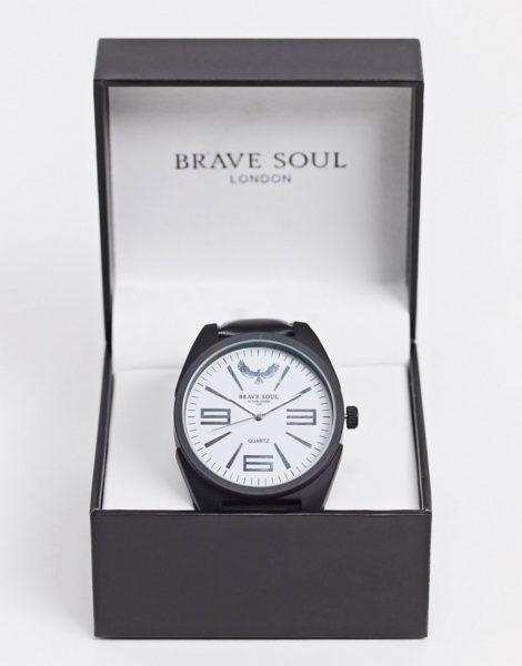 Brave Soul - Oversized Uhr mit weißem Zifferblatt-Schwarz