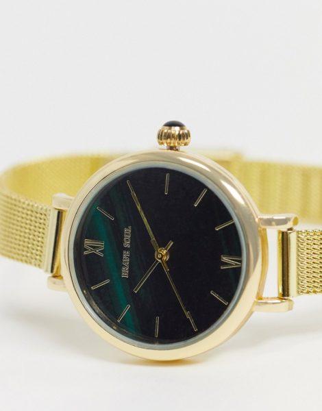 Brave Soul - Uhr aus Edelstahl mit Netzarmband und grünem Zifferblatt-Goldfarben