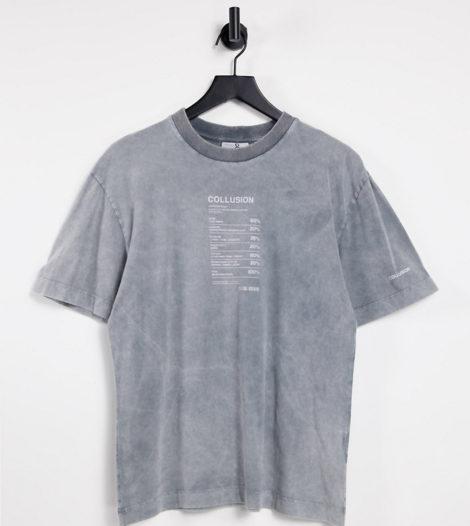 COLLUSION - T-Shirt in Acid-Waschung mit Print-Grau