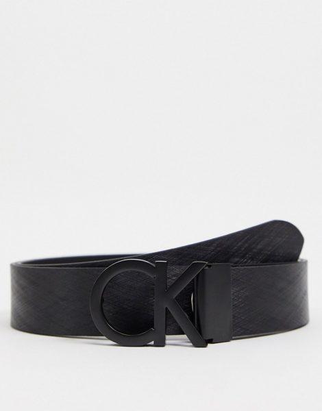 Calvin Klein - Strukturierter Gürtel in Schwarz mit Schnalle, 35 mm