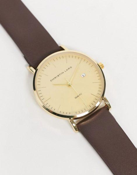 Christin Lars - Armbanduhr aus Leder mit goldenem Zifferblatt-Braun