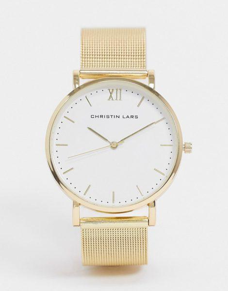 Christin Lars - Goldfarbene Armbanduhr mit weißem Zifferblatt