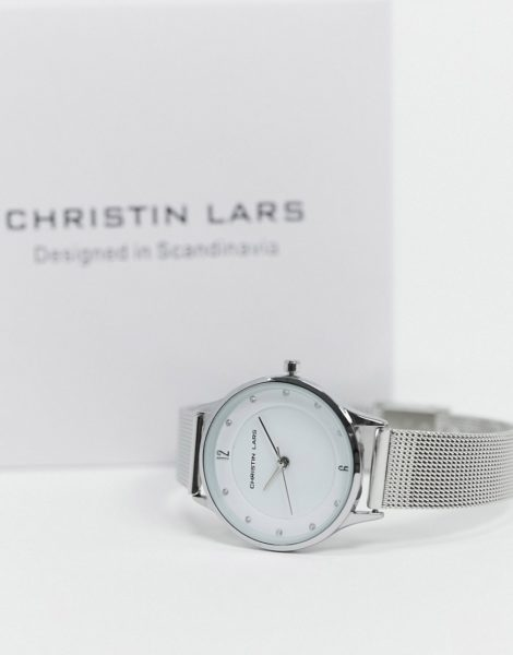 Christin Lars - Schmale, silberne Armbanduhr mit weißem Zifferblatt