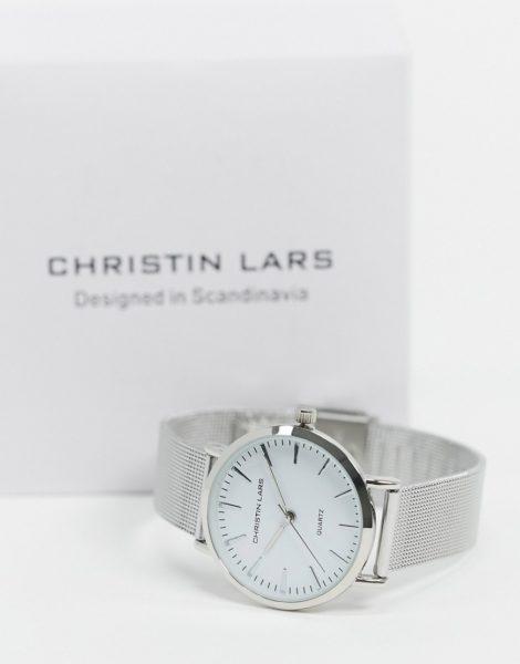 Christin Lars - Silberne, schmale Armbanduhr mit weißem Zifferblatt