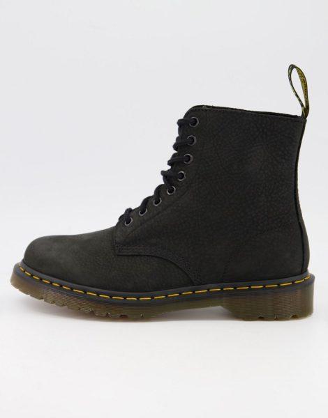 Dr Martens - 1460 - Stiefel in Schwarz aus gewalktem Nubukleder mit 8 Ösen