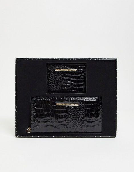 French Connection - Set aus Geldbörse und Kartenetui mit Markenlogo in Kroko-schwarz