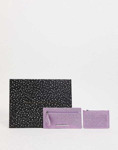 French Connection - Set mit Geldbörse und Kartenetui mit strukturiertem Metallic-Glitzer in Rosa