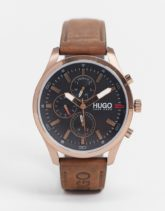 HUGO - Chase - Uhr mit Lederarmband in Braun 1530162