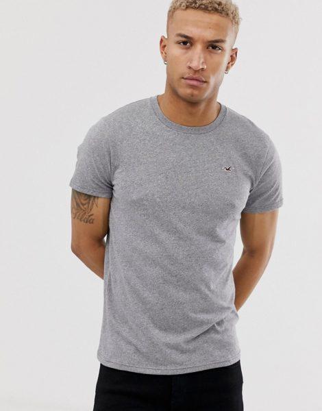 Hollister - Graues T-Shirt mit Rundhalsausschnitt und Möwenlogo