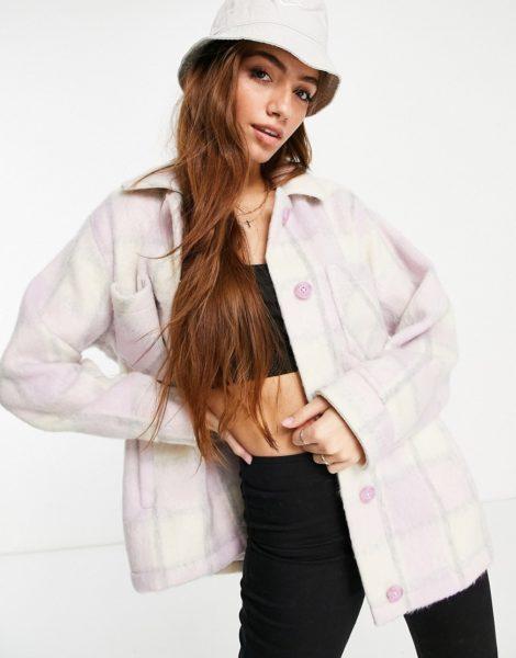 Hollister - Karierte Hemdjacke in Lavendel-Lila