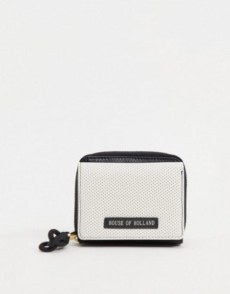 House of Holland - Geldbörse in Schwarz mit perforierter, weißer Vorderseite und Markenetikett aus Leder