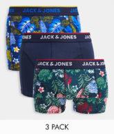 Jack & Jones - 3er-Pack geblümte Unterhosen-Mehrfarbig