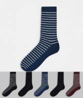Jack & Jones - Gestreifte Socken im 5er-Pack-Schwarz
