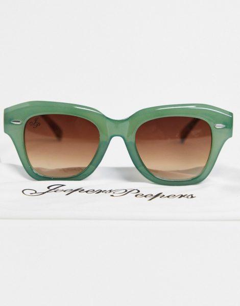 Jeepers Peepers - Runde Sonnenbrille in Grün für Damen