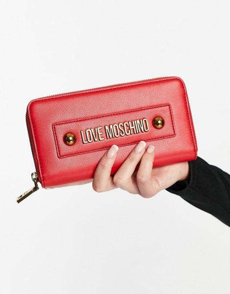 Love Moschino - Essential - Geldbörse mit Nieten in Rot