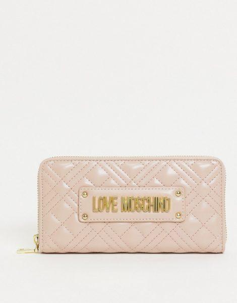 Love Moschino - Lange gesteppte Geldbörse in Rosa