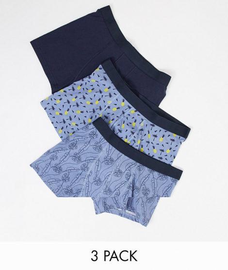 New Look - 3er Pack Boxershorts mit tropischem Muster-Mehrfarbig