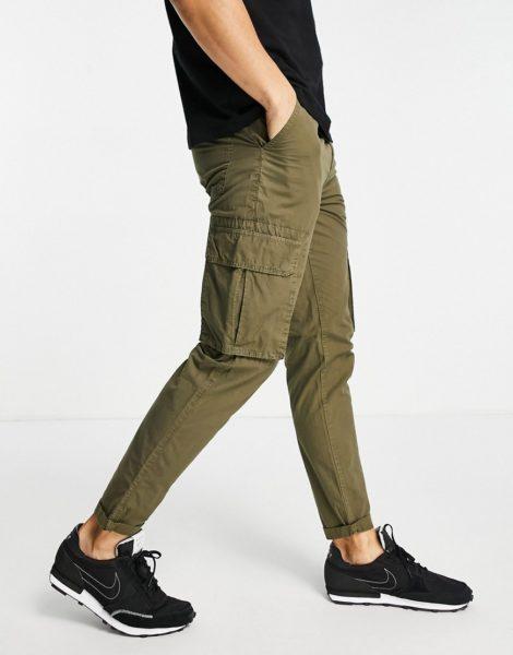 New Look - Cargo-Hose aus Ripstop in dunklem Khaki-Grün