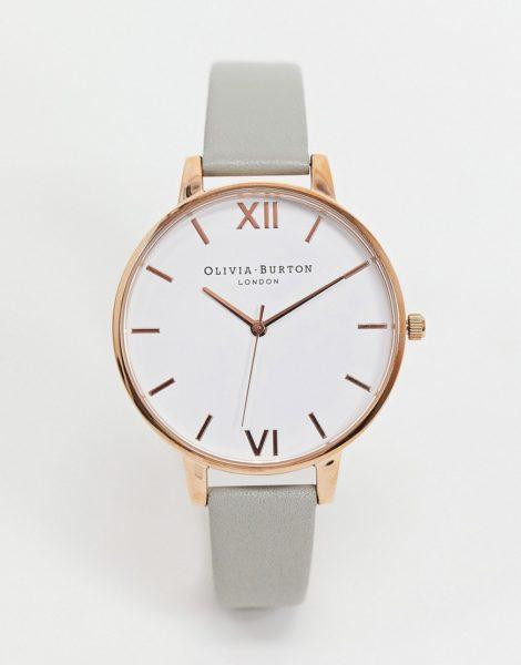 Olivia Burton - Leder-Armbanduhr in Grau und Roségold