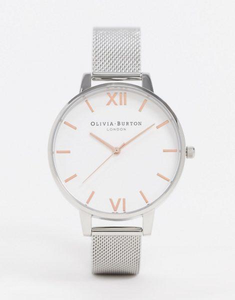 Olivia Burton - Uhr mit großem, weißem Zifferblatt und Netzarmband in Silber