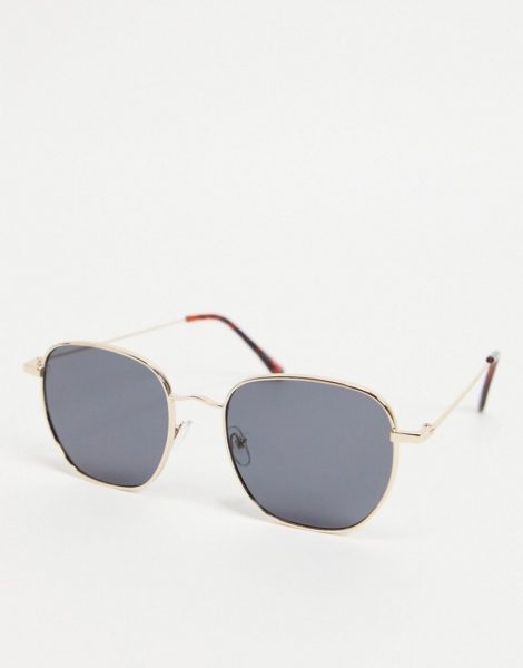 Only & Sons - Sechseckige Sonnenbrille in Silber