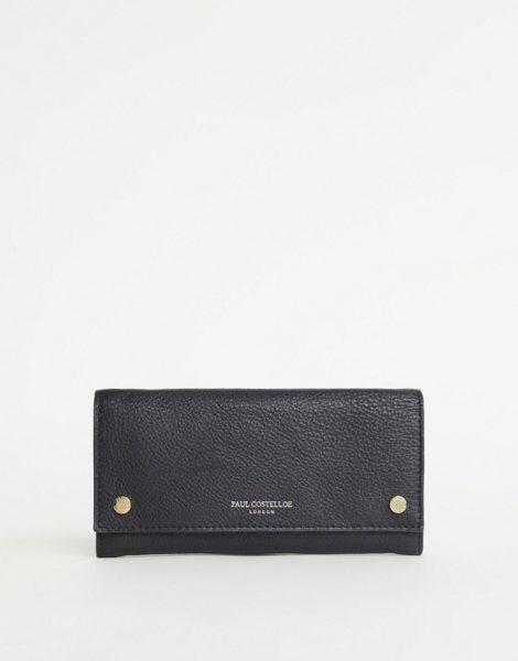 Paul Costelloe - Geldbörse aus Leder in Schwarz mit Druckknopf vorne