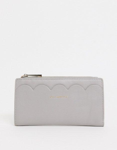 Paul Costelloe - Geldbörse aus Leder mit Bogenkante in Grau-Weiß