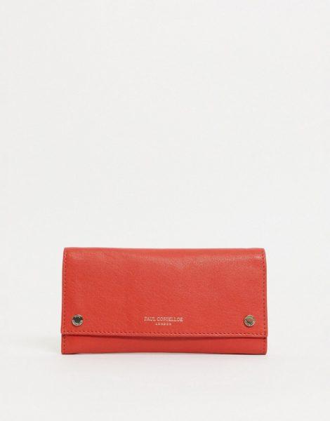 Paul Costelloe - Geldbörse aus Leder mit Druckknopf vorne in Rot