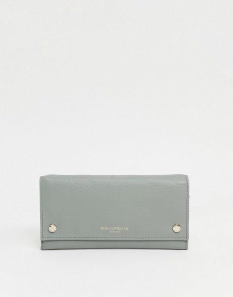 Paul Costelloe - Geldbörse aus Leder mit Druckknopfdetail in Grün