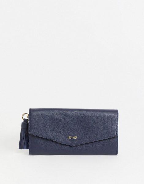 Paul Costelloe - Geldbörse mit Umschlag und Bogenkante aus Leder in Marineblau