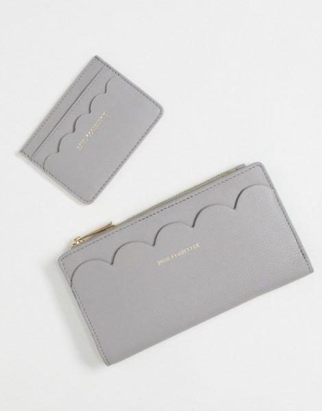 Paul Costelloe - Geldbörse und Kartenetui aus Leder mit Bogenkanten im Geschenkset in gebrochenem Weiß