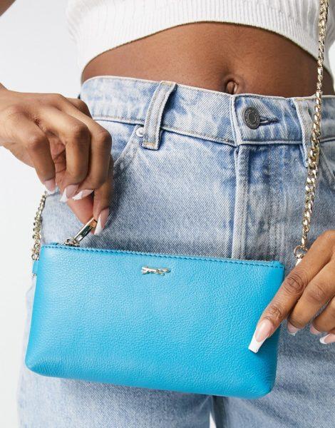 Paul Costelloe - Geldbörsen-Tasche aus Leder in Aquablau