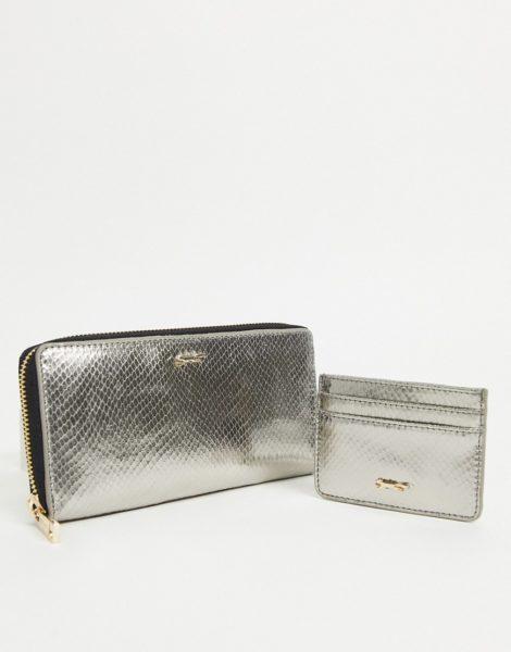 Paul Costelloe - Geschenkset mit Geldbörse aus Leder und Kartenetui in Graphit-Silber