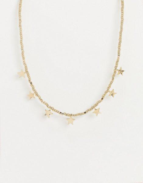 Pieces - Goldfarbene Halskette mit Sterneanhängern