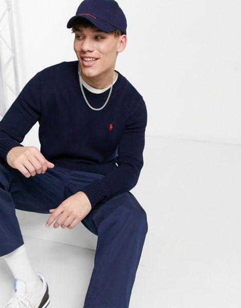 Polo Ralph Lauren - Pullover aus schwerem Baumwollstrick mit Polospieler-Logo in Hunter-Marineblau