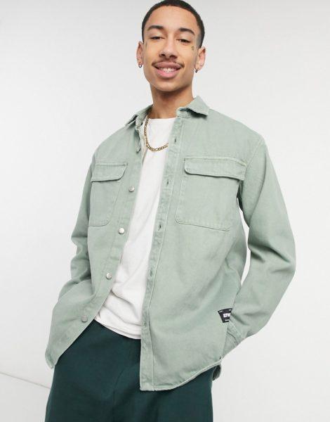 Pull&Bear - Hemd in Khaki-Grün