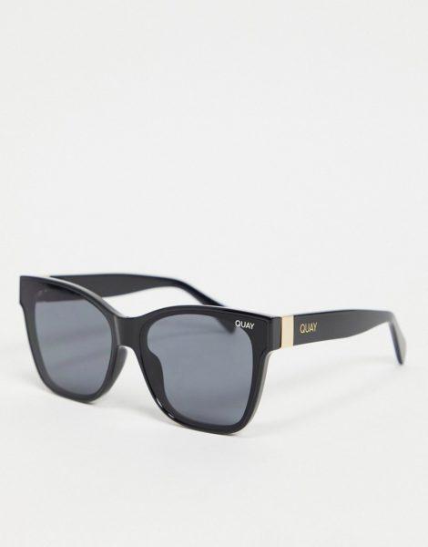 Quay - After Party - Eckige Damen-Sonnenbrille in Schwarz